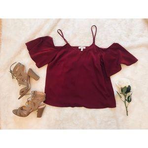 Monteau | Off Shoulder Red / Maroon Silk Top - Med